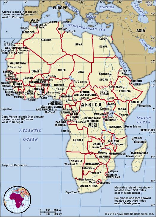 Country Map of Africa