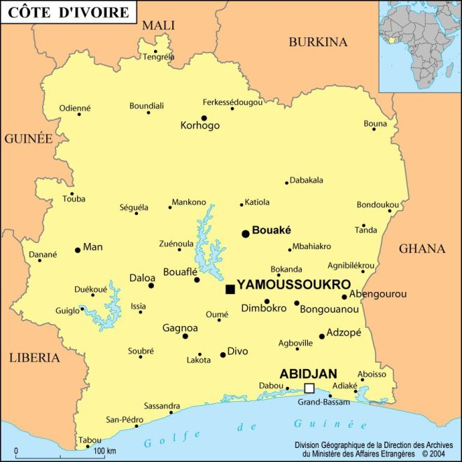 Map of Cote Ivoire