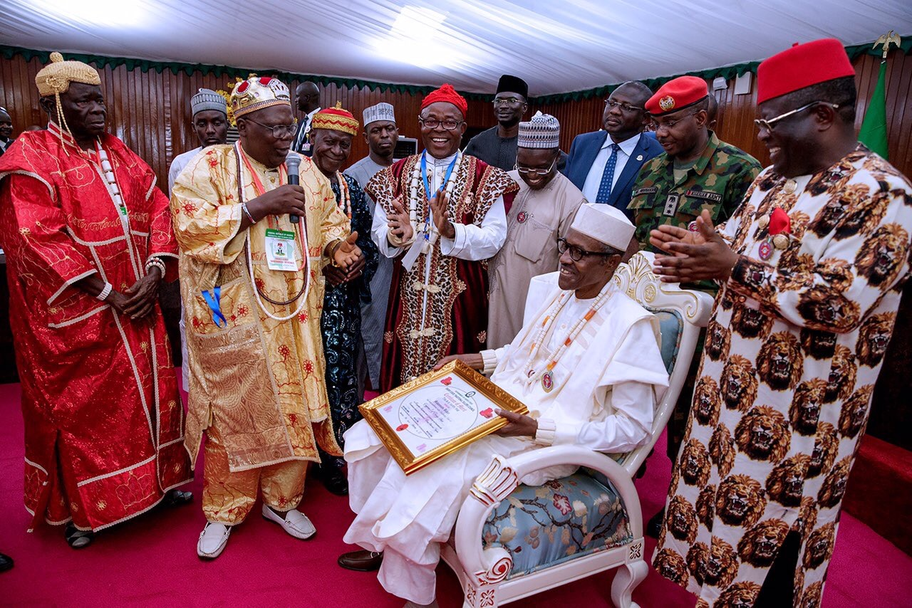 Pres Muhammadu Buhari and Traditional Rulers in Southeast Nigeria