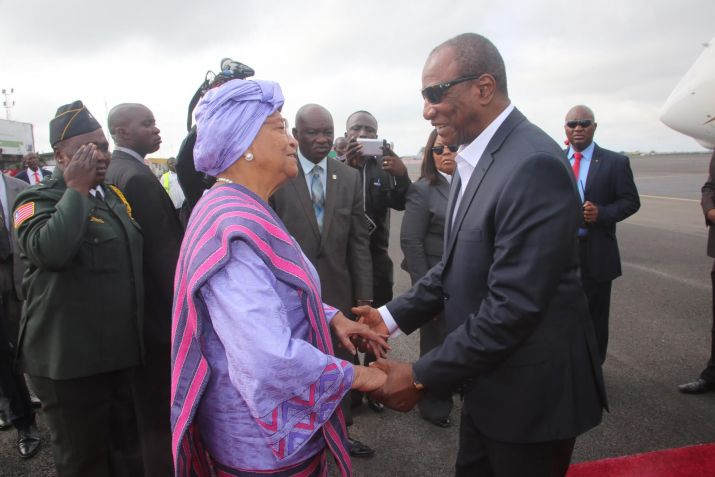 President Sirleaf receives AU Chairperson President Alpha Conde of Guinea