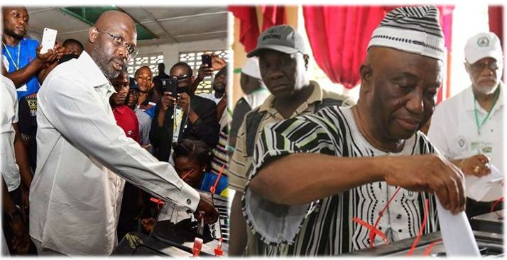 Runoff Candidates George Weah and Vice President Joseph Boakai Voting December 26
