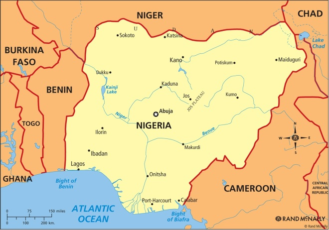 Map of Nigeria and Cameroon