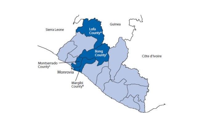 Map of Bong County Liberia