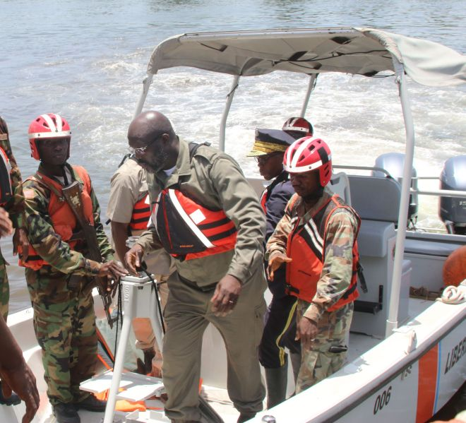 President Weah Disembarks Liberia Coast Guard Boat when he left Bali Island (1)