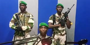 gabonese coup makers on tv