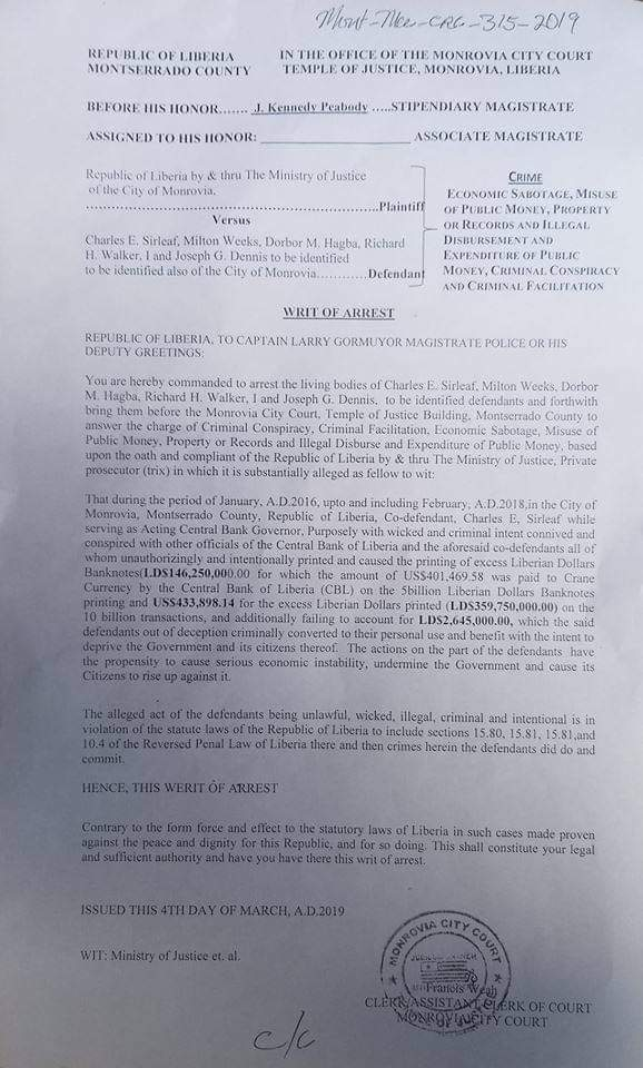 Monrovia City Court Writ of Arrest